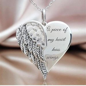 "⭐️4/$25⭐️Angel Memorial Pendant ""A piece of my heart has wings"" angel wing heart"
